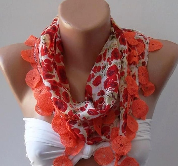 Red and Orange Elegance Shawl / Scarf with Lace by SwedishShop, $13.90: Orange Elegance, Lace, Color, Orange Green Fushia, Scarf Problem, Elegance Shawl, Scarfs, Fundamental Red