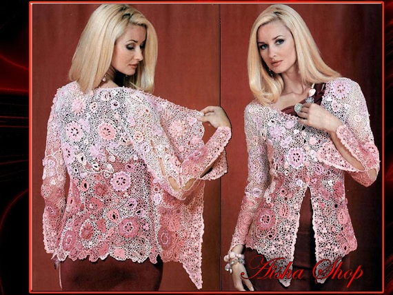 Crochet Patterns eBook Irish Lace Shawl Dresses Tops by AishaShop, $2.80