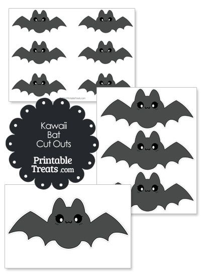 Printable Grey Kawaii Bat Cut Outs from PrintableTreats.com