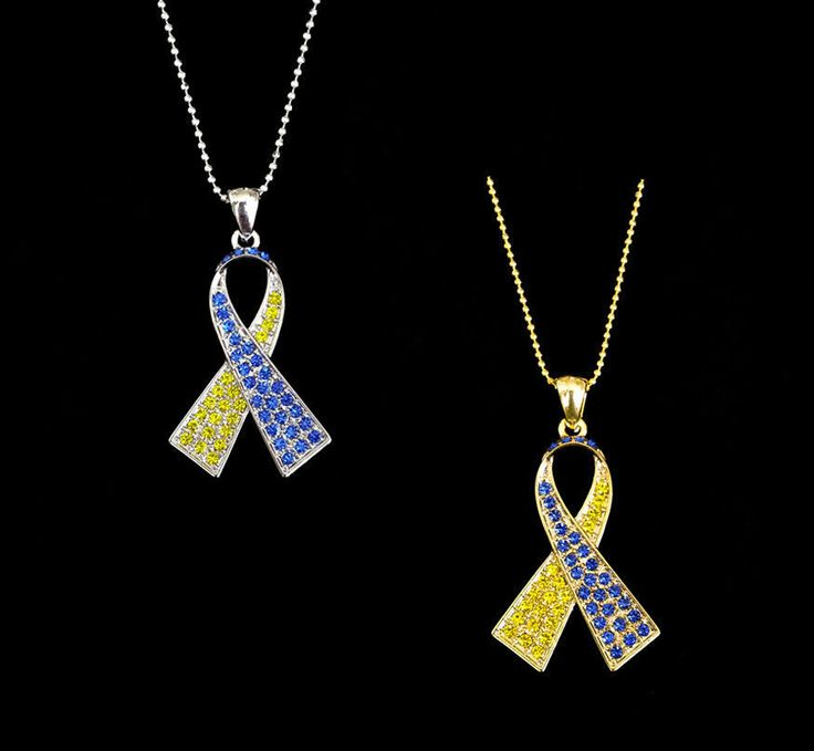 Yellow & Blue Down Syndrome Awareness Pendant Necklace
