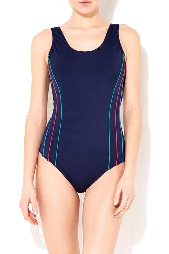 Navy Blue Sports Swimsuit #WallisFashion