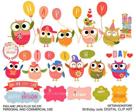 Gelukkige verjaardag uil digitale illustraties door Giftseasonstore