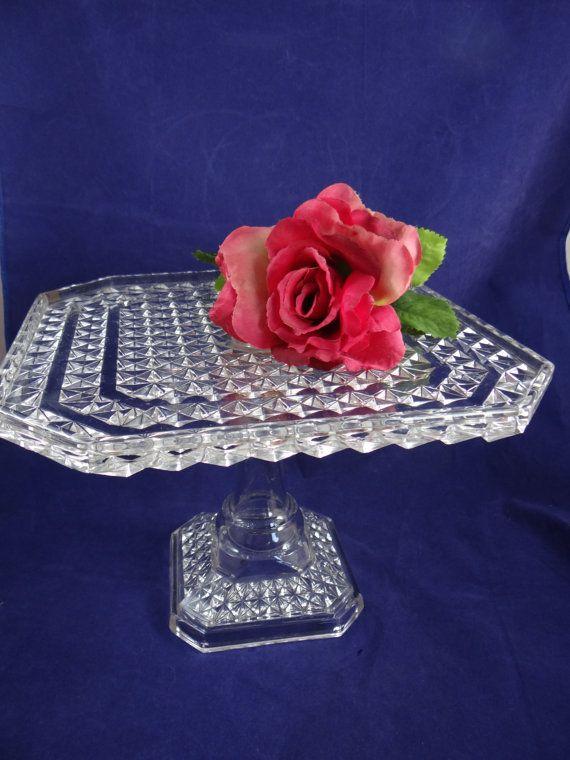 Vintage Diamond Point Art Deco Style Cake Plate  by SecondWindShop, $75.00