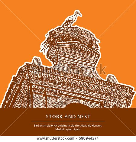 Nest and stork on an old brick building. One bird on the roof In the old Spanish town Alcala de Henares, Madrid region, Spain.   Vector illustration.
