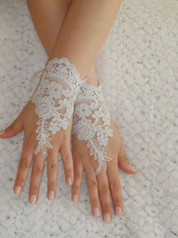 Free Ship, Bridal Glove, white, silver-embroidered lace gloves, Fingerless Gloves, cuff wedding bride, bridal gloves, white, via Etsy