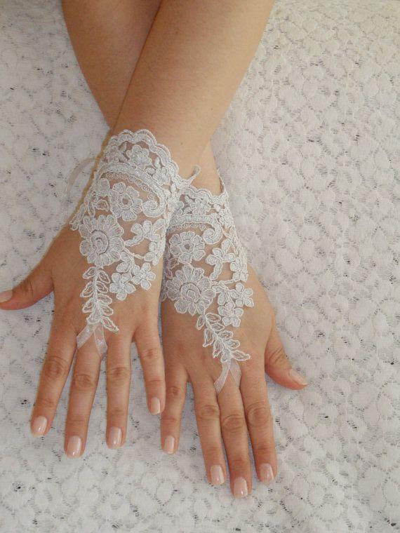 Free Ship, Bridal Glove, white, silver-embroidered lace gloves, Fingerless Gloves, cuff wedding bride, bridal gloves, white, via Etsy