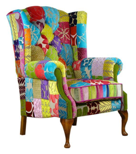 Nueva silla de Patchwork de terciopelo del gremio por JustinaDesign