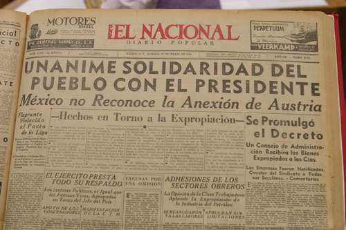 Primera plana del periódico El Nacional del domingo 20 de marzo de 1938, con el tema de la expropiación petrolera a ocho columnas
