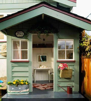 Ready for a Welcome. This playhouse ditched a front door in favor of a large porch overhang. Its simple interior includes open shelves for big-kid storage, as well as hooks well within kid height.