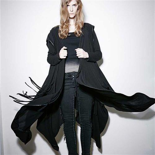 Witchery lang cape vest met capuchon zwart - Gothic