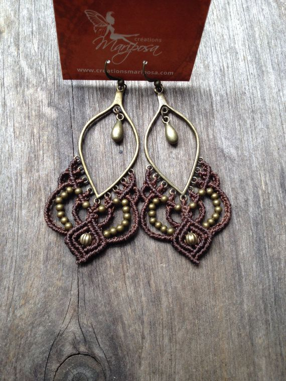Micro macrame earrings milk chocolate boho by creationsmariposa, $30.00