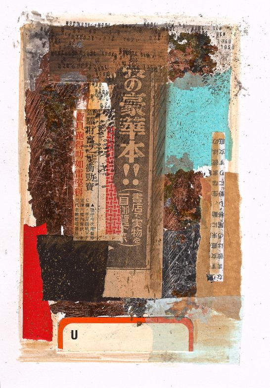 Collage - cut and paste - paper - book pages - Japanese newspaper - ink - copper leaf