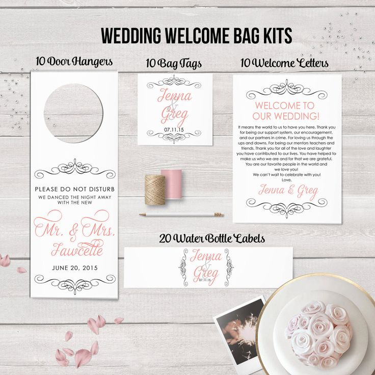 Wedding Welcome Bag Kits Wedding Hotel Bag by DesignedByME on Etsy