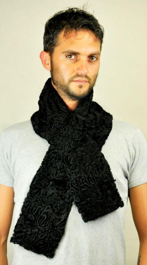 Black karakul fur scarf  www.amifur.co.uk
