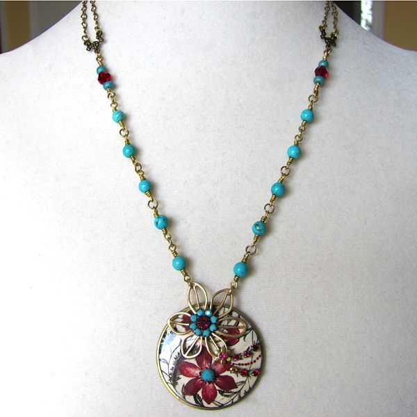 Indian Floral and Turquoise Necklace