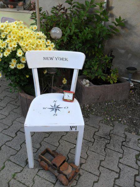 Shabby alter Stuhl Küchenstuhl Esszimmerstuhl weiß von meikels-aktuell auf DaWanda.com