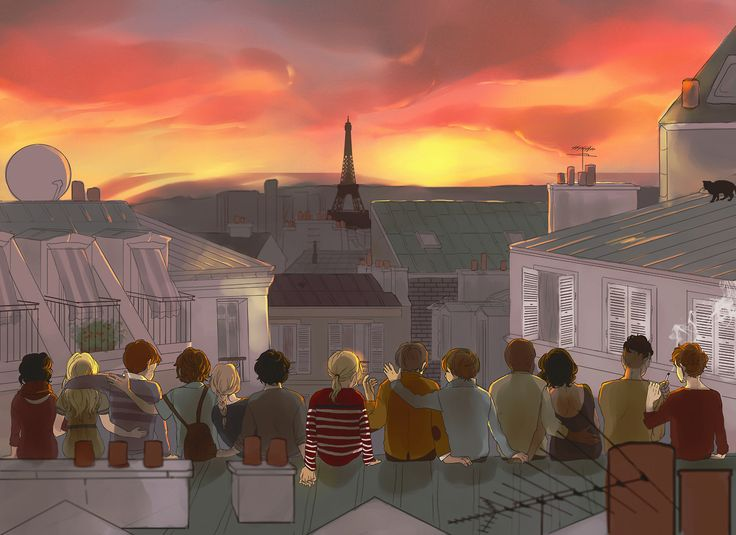 """""""… but Paris was an old city and we were young."""" Les Miserables Fan Art (from lef to right: eponine, cosette, marius, courfeyrac, jehan, grantaire, enjolras, combeferre, joly, bossuet, musichetta, bahorel, feuilly)"""