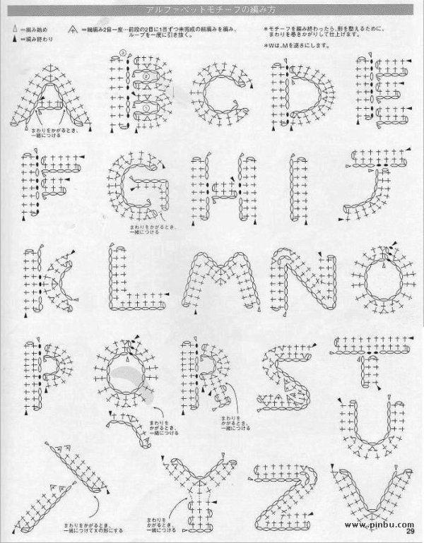 Crochet Alphabet - Chart....do with tatting thread and frame like a sampler.