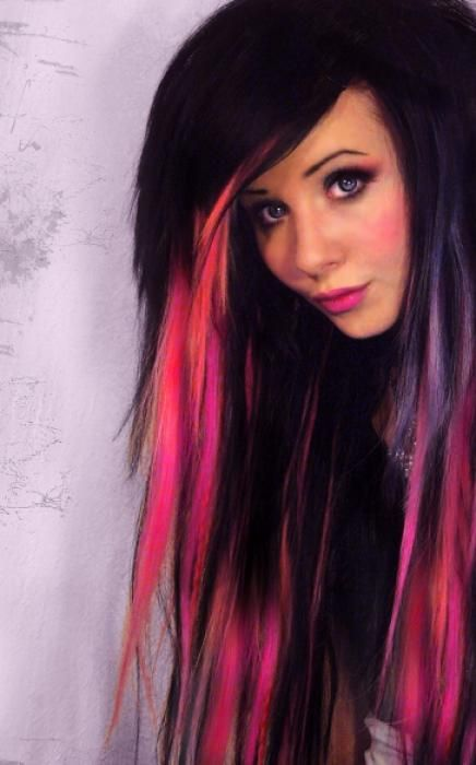 Black And Pink Hair Pinterest
