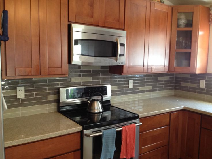 Kitchen Backsplash Tile Cherry Cabinets mission style cherry cabinets with ground quarts counter tops and