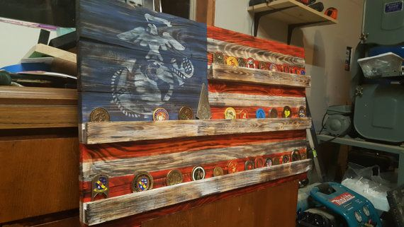 Challenge Coin Display Patriotic Art Rustic by DollarMountain