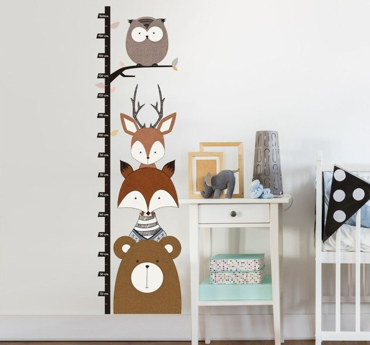 Woodland animal kids height chart wall sticker woodland wallsticker owl deer