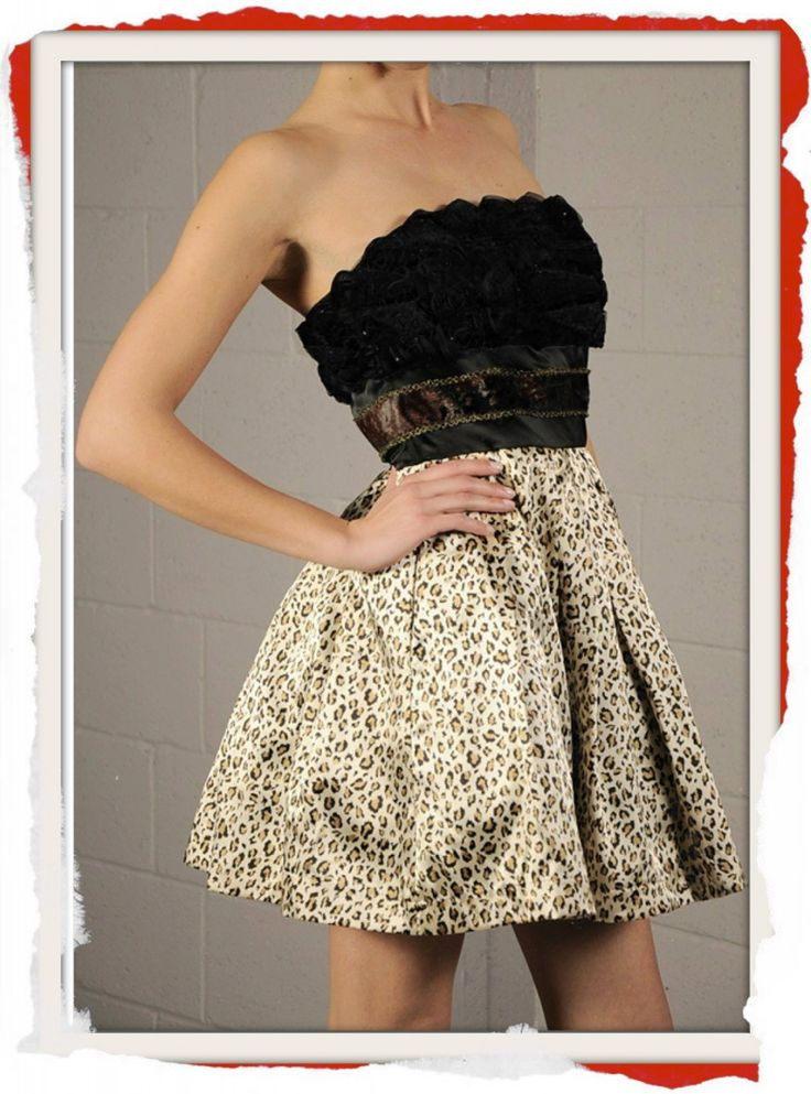 Cheetah print with Tulle underlay and rosette featured bustier. $99 info@fashionjazz.com.au