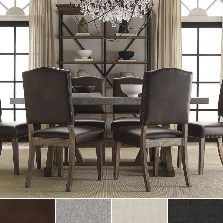 benchwright nailhead upholstered dining chairs by signal