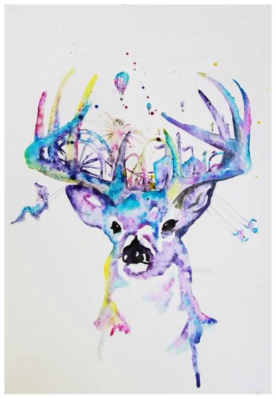 Whitetail watercolor tattoo