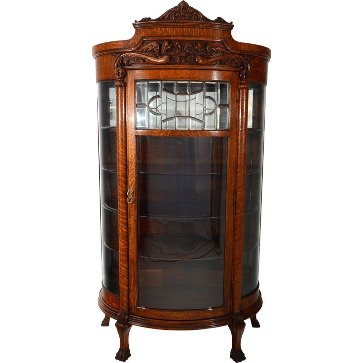 American Oak China Cabinet with Leaded Glass Door and Curved Side Display
