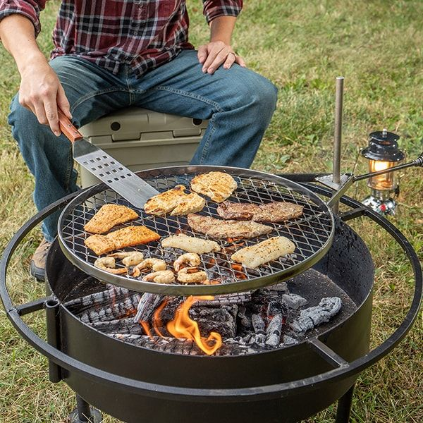 Amish Made Fire Pit With Grill Attachment Fire Pit Grill Fire