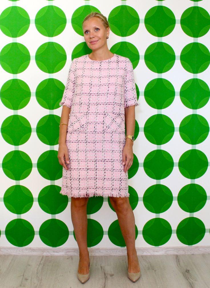 Коктейльное платье из твида в розовую клетку DASTI