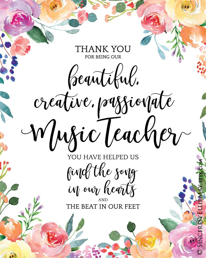 Music Teacher Appreciation Gift Great As Thank You Quote Etsy In 2020 Appreciation Printable Appreciation Gifts Volunteer Gifts