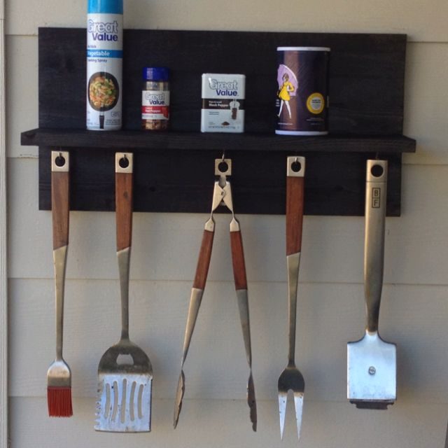 repurposed bbq utensil shelf made from scrap wood Comfy Patio Daybed Comfy Patio Daybed