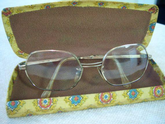 10k gold Italian eye glass frames/1/20 10k gold frames/Retro eye glasses/Retro eye glass case/1970's eye glasses