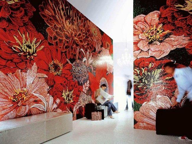 Óriás Sicis mozaikkép vörös, piros virágokkal