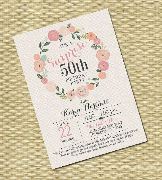 Adult Birthday Invitation - Milestone Birthday - Any Event - Floral Circle Burlap Typography