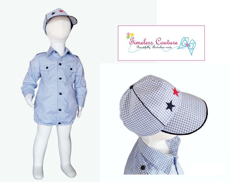 Boy rompers for your happy baby boy. Romper fastens at the front with navy blue colour buttons and snaps at the bottom for easy nappy change. Cute romper with a matching cap for your very charming little boy.