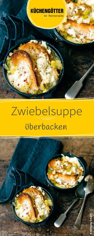 Rezept für überbackene Zwiebelsuppe