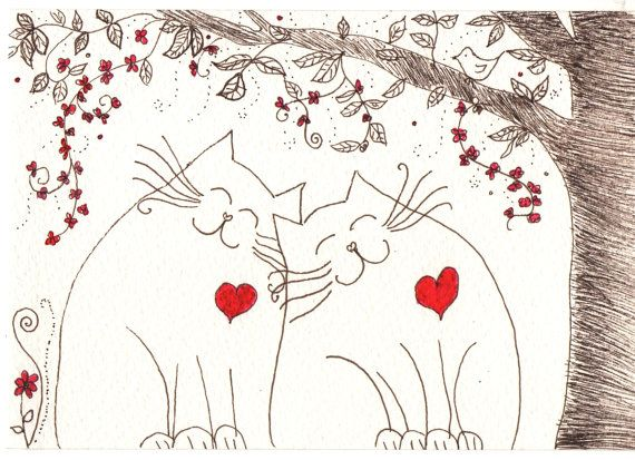 Ink Drawing - cats friendship, love - original