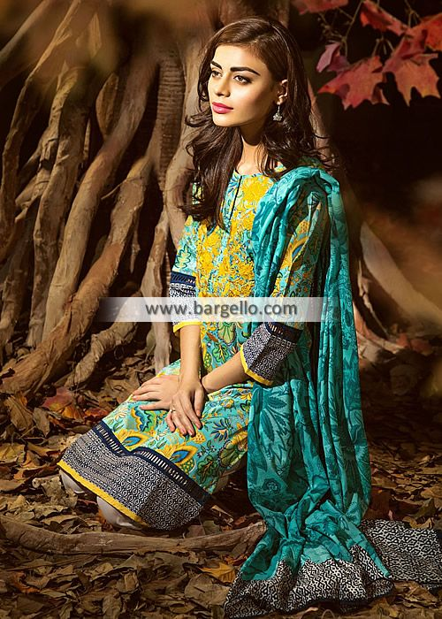 WL9600 Gorgeous Summer Collection Outfits Khaadi Cambric 2015 - UK USA Canada Australia Saudi Arabia Bahrain Kuwait Norway Sweden New Zealand Austria Switzerland Germany Denmark France Ireland Mauritius and Netherlands