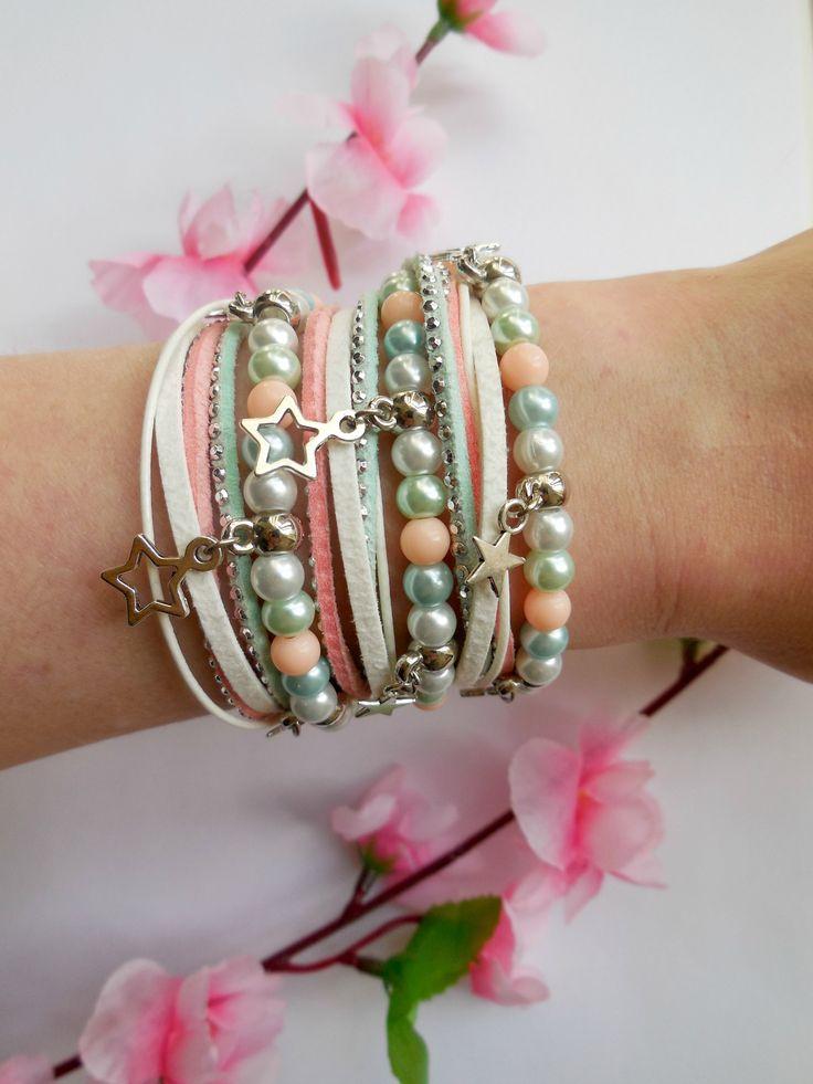 Wrapbracelet in pastel colours - Make your own with the materials from http://www.beadsandbasics.com/nl/wikkelarmband-pastel-kleuren.html