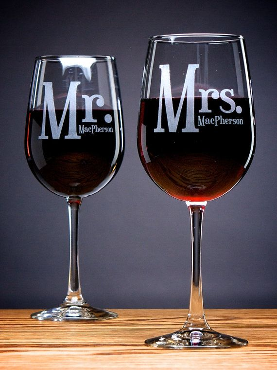 Set of 2 (TWO) Personalized MR & MRS Wine Glasses- Valentine's Gift, Wedding Gift, Toasting Glasses, House Warming, Anniversary Gift