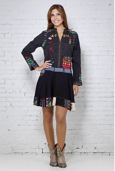 Peace and love vestido denim estampado - Complementos Zeppelin