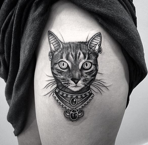 egyptian style black and grey cat tattoo tattoos pinterest. Black Bedroom Furniture Sets. Home Design Ideas