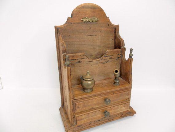 Vintage Letter / Ink Stand. Carved Wood Writing Rack. Pen Ink letter Cabinet. Home Decor. Antique Wood Chest. Writing Desk. Wooden Ink Stand