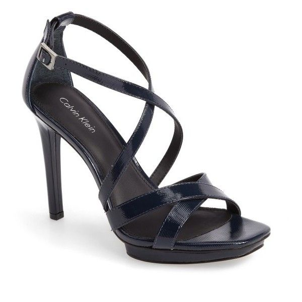 Women's Calvin Klein Vonnie Platform Sandal (160 AUD) ❤ liked on Polyvore featuring shoes, sandals, deep navy patent, patent leather wedge sandals, calvin klein shoes, wedge heel sandals, calvin klein and platform wedge shoes