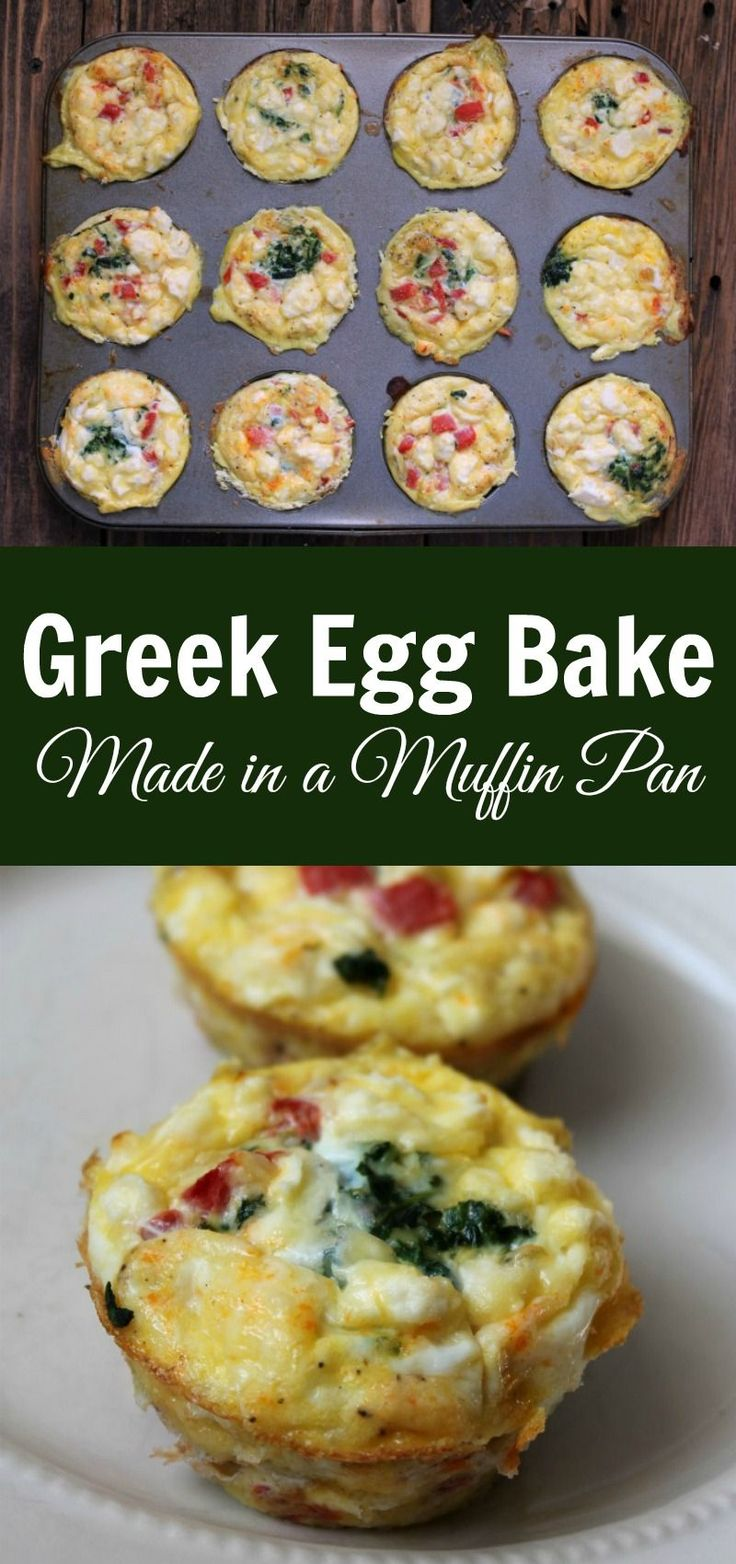 Make-ahead greek egg bake made in a muffin pan. Healthy low-carb breakfast recipe to make on meal prep day.