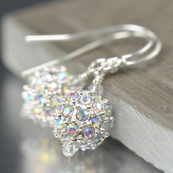 Silver Pave crystal AB earrings