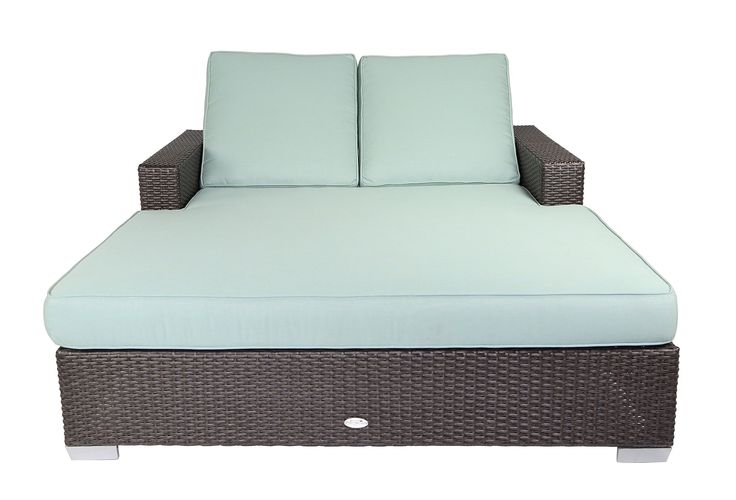 Patio Heaven SB-C2-5413 Signature Double Chaise Lounge with Cushion in Canvas Fabric, Spa. Sturdy powder-coated aluminum frame. Non-toxic 100% recyclable material. All-weather and UV resistant polyethylene wicker. Includes premium UV resistant Sunbrella outdoor cushions manufactured in the USA.
